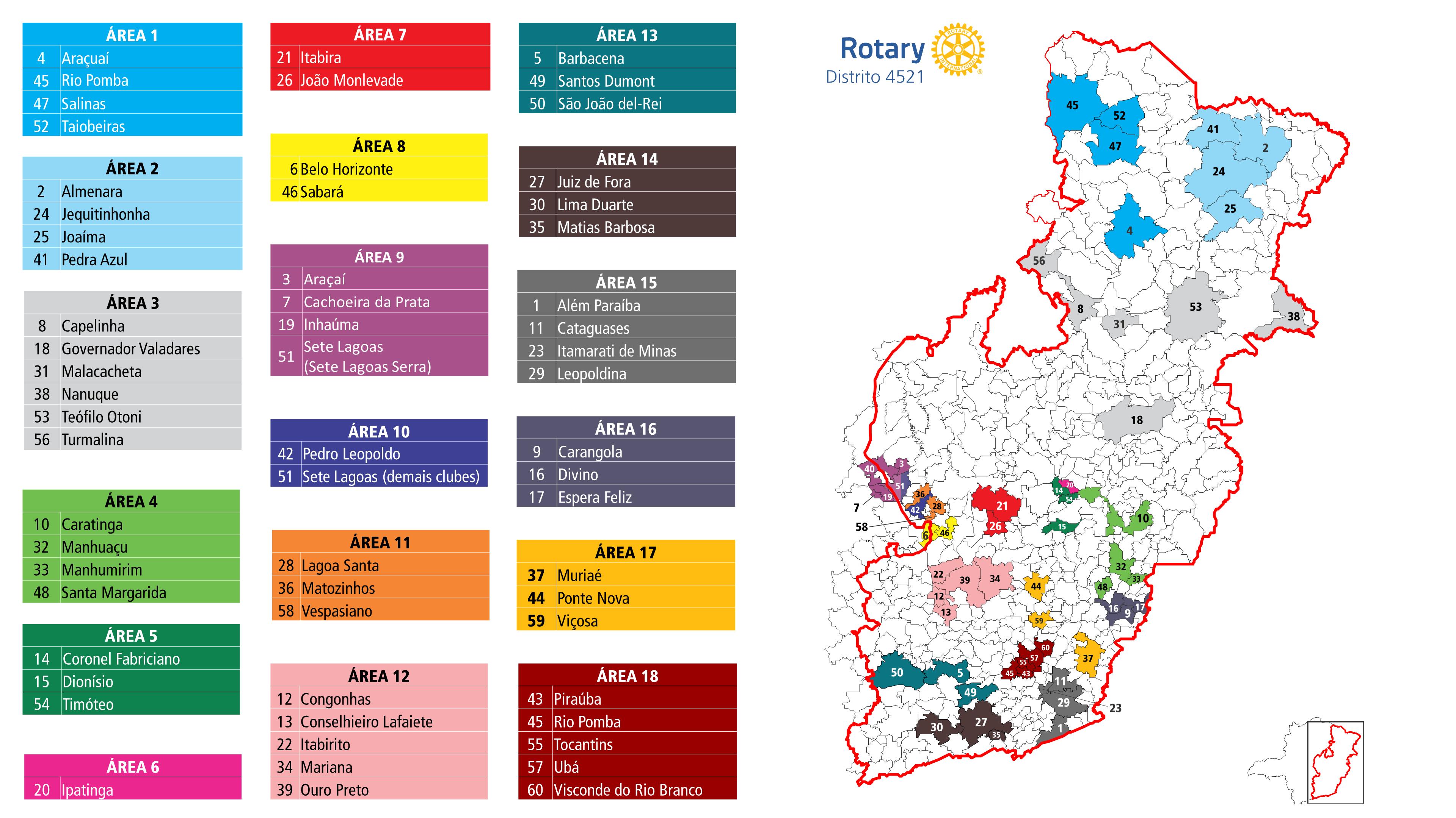 Mapa do Distrito 4521 dividido por áreas